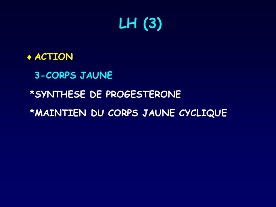 LH (3)  ACTION 3-CORPS JAUNE *SYNTHESE DE PROGESTERONE *MAINTIEN DU CORPS JAUNE CYCLIQUE