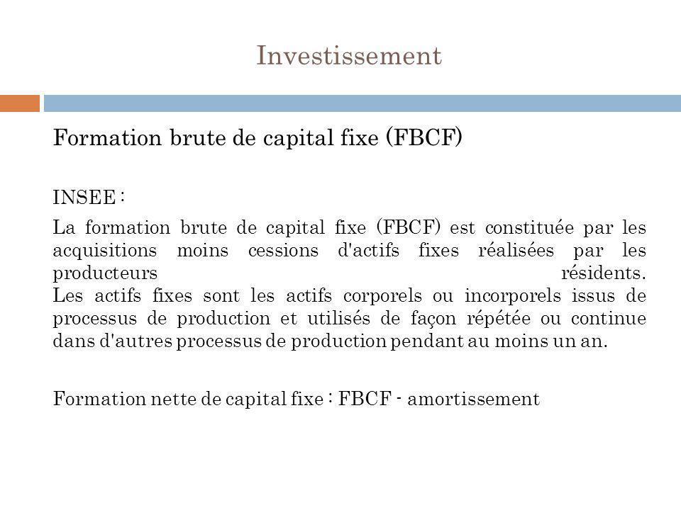 Investissement Formation brute de capital fixe (FBCF) INSEE : La formation brute de capital fixe (FBCF) est constituée par les acquisitions moins cess