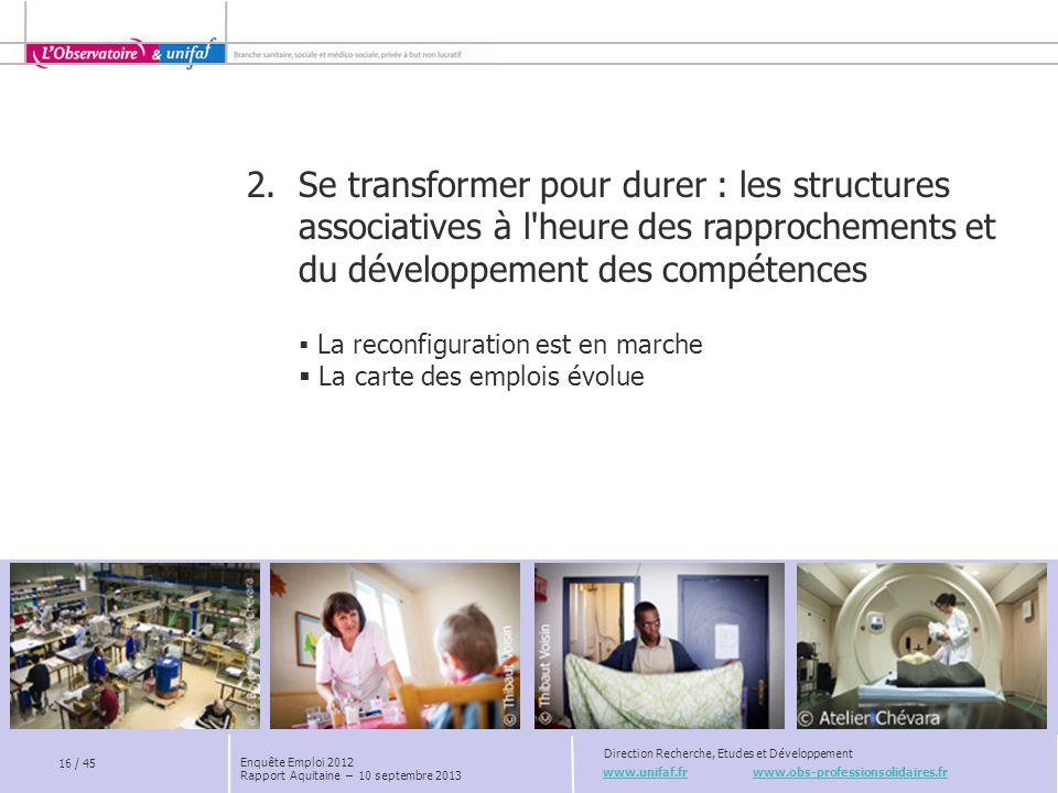 www.unifaf.fr www.obs-professionsolidaires.fr Direction Recherche, Etudes et Développement 16 / 45 Enquête Emploi 2012 Rapport Aquitaine – 10 septembr