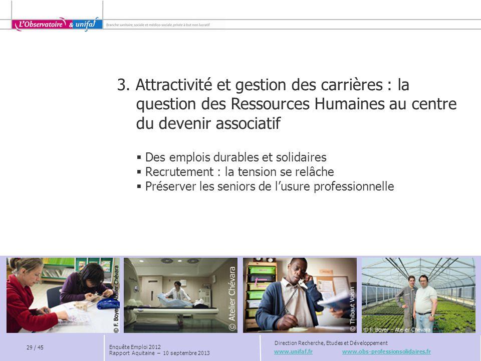 www.unifaf.fr www.obs-professionsolidaires.fr Direction Recherche, Etudes et Développement 29 / 45 Enquête Emploi 2012 Rapport Aquitaine – 10 septembr