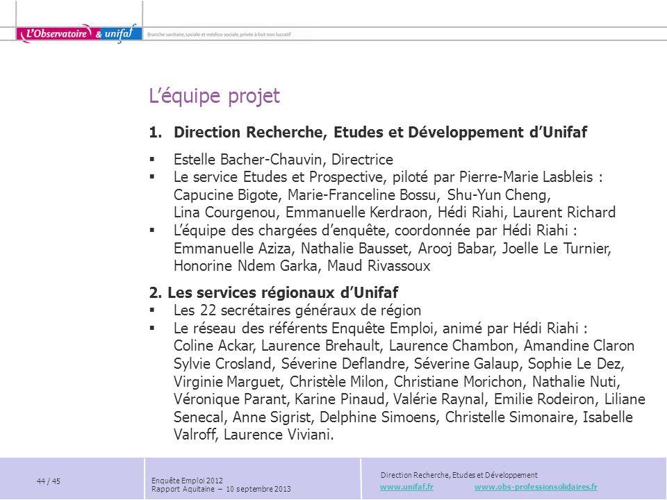 L'équipe projet www.unifaf.fr www.obs-professionsolidaires.fr Direction Recherche, Etudes et Développement 1.Direction Recherche, Etudes et Développem