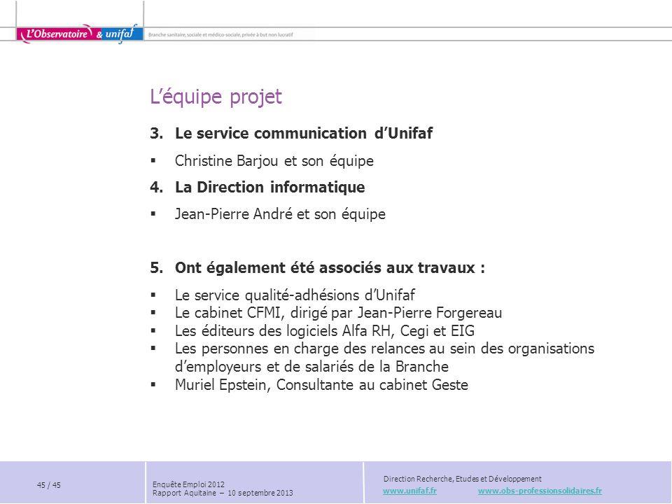 L'équipe projet www.unifaf.fr www.obs-professionsolidaires.fr Direction Recherche, Etudes et Développement 3.Le service communication d'Unifaf  Chris