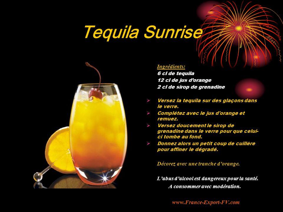 Tequila Sunrise Ingrédients: 6 cl de tequila 12 cl de jus d'orange 2 cl de sirop de grenadine  Versez la tequila sur des glaçons dans le verre.