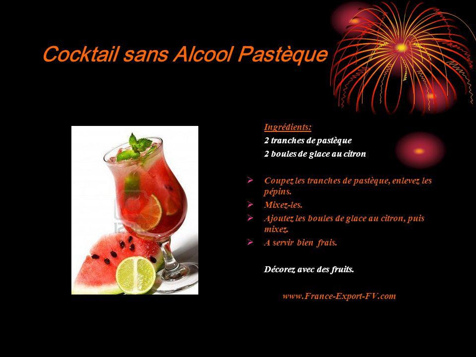 Cocktail sans Alcool Pastèque Ingrédients: 2 tranches de pastèque 2 boules de glace au citron  Coupez les tranches de pastèque, enlevez les pépins.
