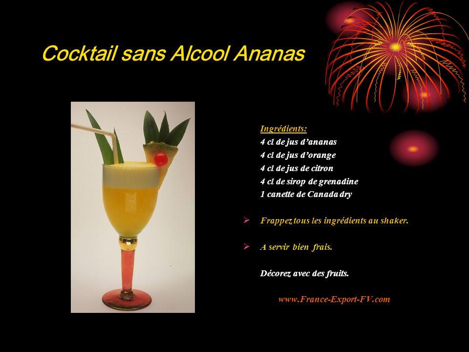 Cocktail sans Alcool Ananas Ingrédients: 4 cl de jus d'ananas 4 cl de jus d'orange 4 cl de jus de citron 4 cl de sirop de grenadine 1 canette de Canada dry  Frappez tous les ingrédients au shaker.