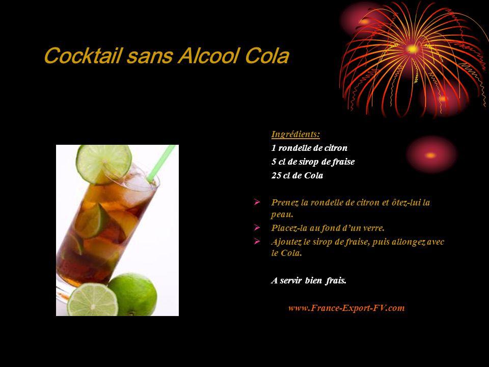 Cocktail sans Alcool Cola Ingrédients: 1 rondelle de citron 5 cl de sirop de fraise 25 cl de Cola  Prenez la rondelle de citron et ôtez-lui la peau.