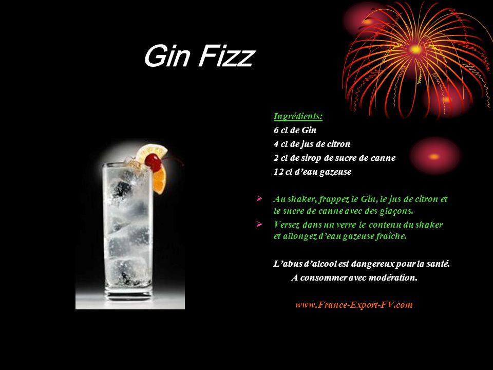 Gin Fizz Ingrédients: 6 cl de Gin 4 cl de jus de citron 2 cl de sirop de sucre de canne 12 cl d'eau gazeuse  Au shaker, frappez le Gin, le jus de citron et le sucre de canne avec des glaçons.