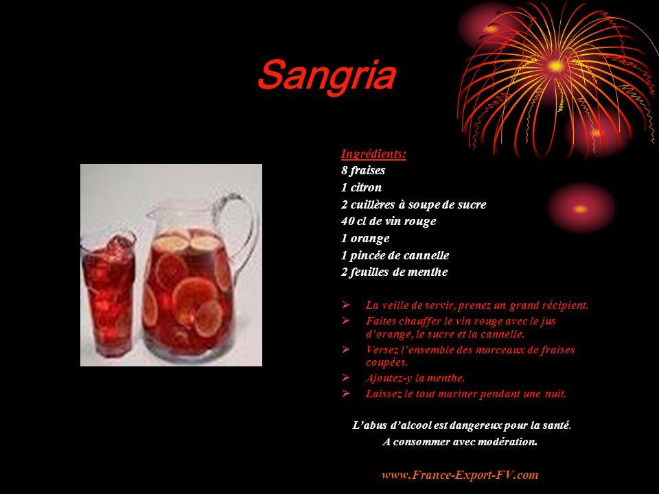 Sangria Ingrédients: 8 fraises 1 citron 2 cuillères à soupe de sucre 40 cl de vin rouge 1 orange 1 pincée de cannelle 2 feuilles de menthe  La veille de servir, prenez un grand récipient.