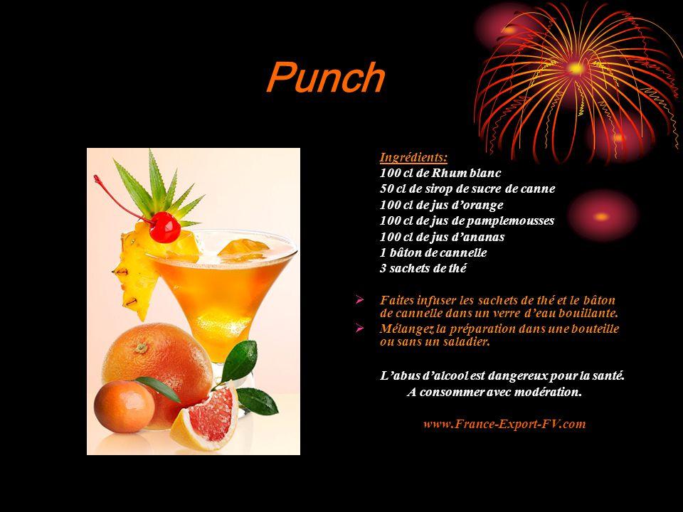 Punch Ingrédients: 100 cl de Rhum blanc 50 cl de sirop de sucre de canne 100 cl de jus d'orange 100 cl de jus de pamplemousses 100 cl de jus d'ananas 1 bâton de cannelle 3 sachets de thé  Faites infuser les sachets de thé et le bâton de cannelle dans un verre d'eau bouillante.