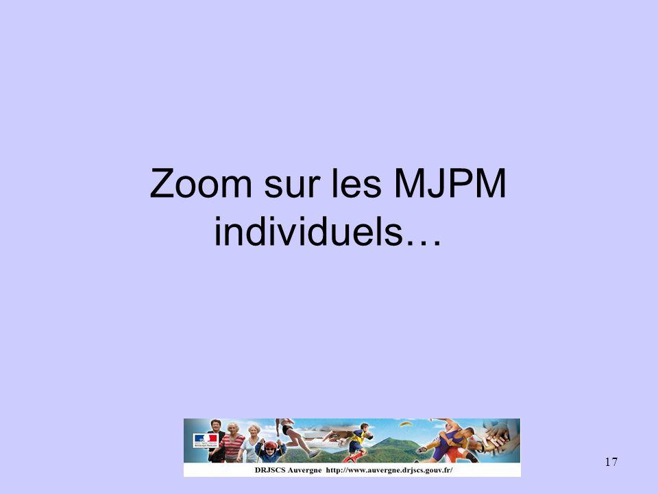 17 Zoom sur les MJPM individuels…