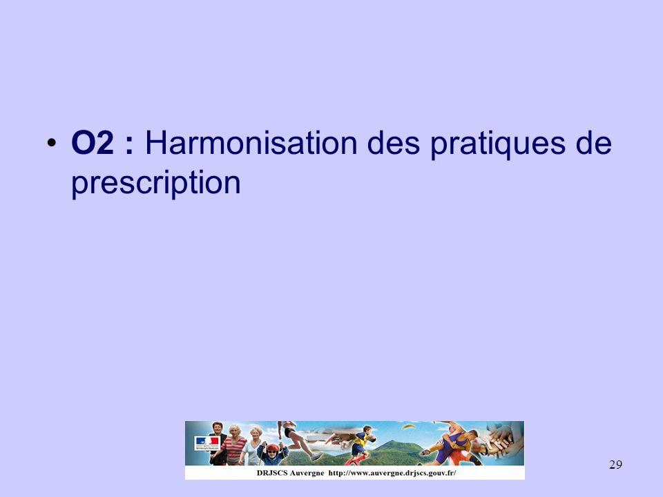 29 O2 : Harmonisation des pratiques de prescription