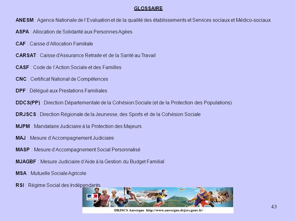 43 GLOSSAIRE ANESM : Agence Nationale de l'Evaluation et de la qualité des établissements et Services sociaux et Médico-sociaux ASPA : Allocation de S