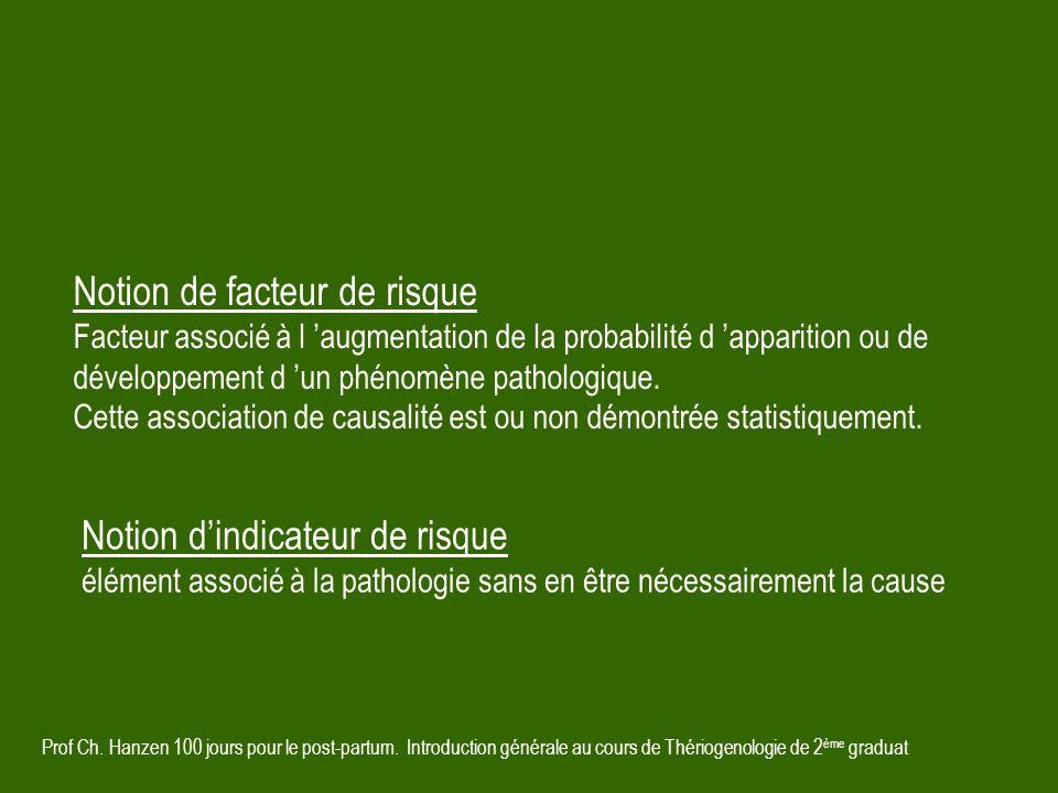 Prof Ch. Hanzen 100 jours pour le post-partum. Introduction générale au cours de Thériogenologie de 2 ème graduat Notion de facteur de risque Facteur