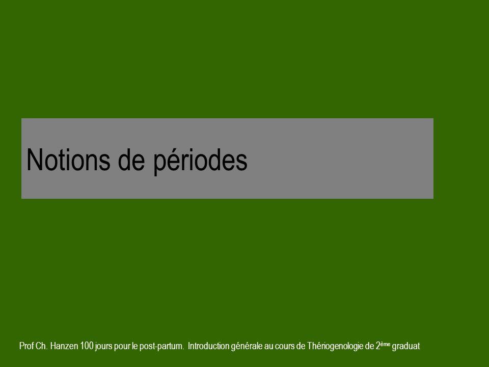 Prof Ch. Hanzen 100 jours pour le post-partum. Introduction générale au cours de Thériogenologie de 2 ème graduat Notions de périodes
