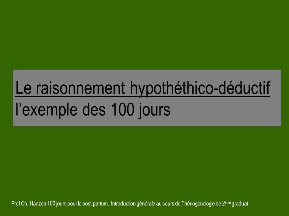 Prof Ch. Hanzen 100 jours pour le post-partum. Introduction générale au cours de Thériogenologie de 2 ème graduat Le raisonnement hypothéthico-déducti