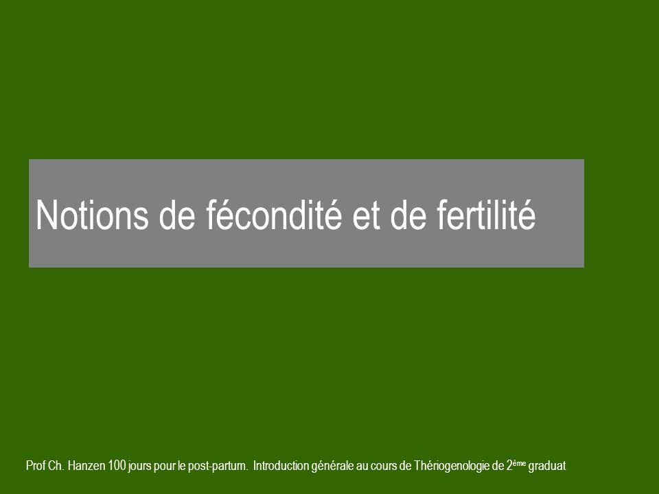 Prof Ch. Hanzen 100 jours pour le post-partum. Introduction générale au cours de Thériogenologie de 2 ème graduat Notions de fécondité et de fertilité