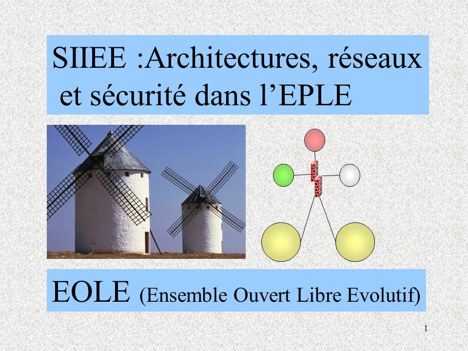 1 SIIEE :Architectures, réseaux et sécurité dans l'EPLE EOLE (Ensemble Ouvert Libre Evolutif)