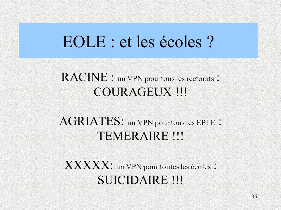 106 EOLE : et les écoles .RACINE : un VPN pour tous les rectorats : COURAGEUX !!.