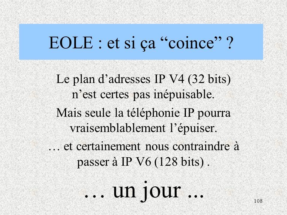 108 EOLE : et si ça coince .Le plan d'adresses IP V4 (32 bits) n'est certes pas inépuisable.