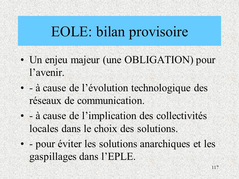 117 EOLE: bilan provisoire Un enjeu majeur (une OBLIGATION) pour l'avenir.