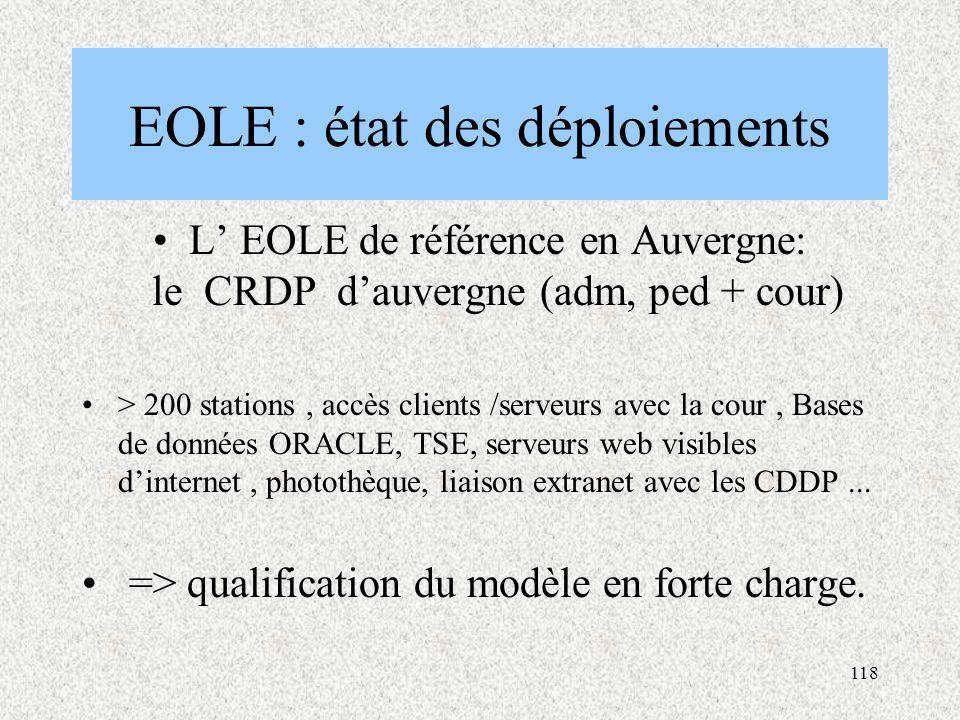 118 EOLE : état des déploiements L' EOLE de référence en Auvergne: le CRDP d'auvergne (adm, ped + cour) > 200 stations, accès clients /serveurs avec la cour, Bases de données ORACLE, TSE, serveurs web visibles d'internet, photothèque, liaison extranet avec les CDDP...