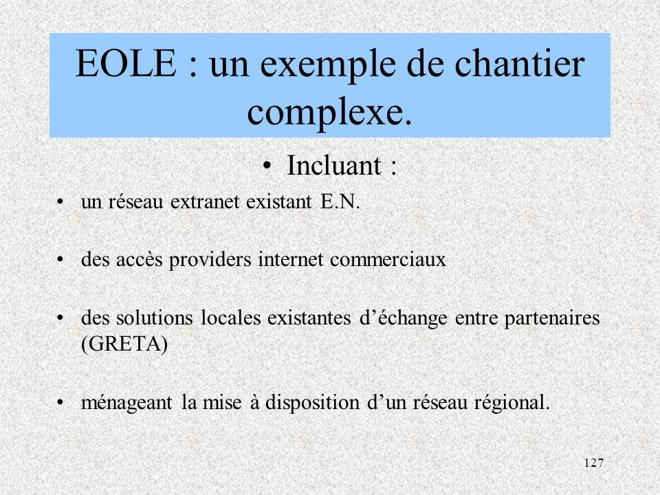 127 EOLE : un exemple de chantier complexe.Incluant : un réseau extranet existant E.N.