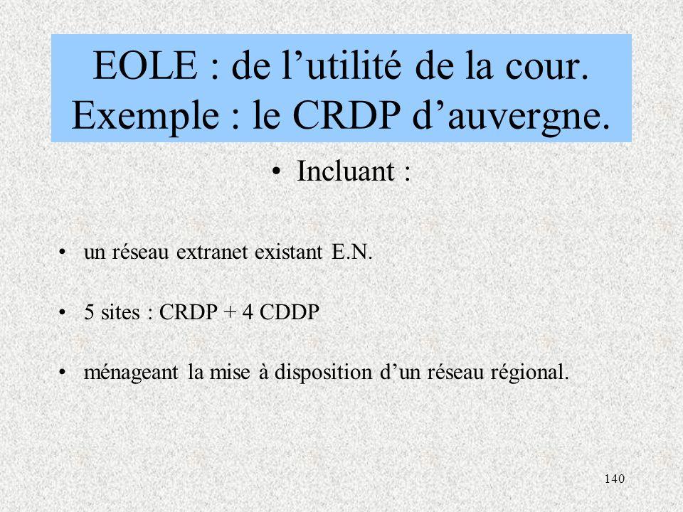 140 EOLE : de l'utilité de la cour.Exemple : le CRDP d'auvergne.