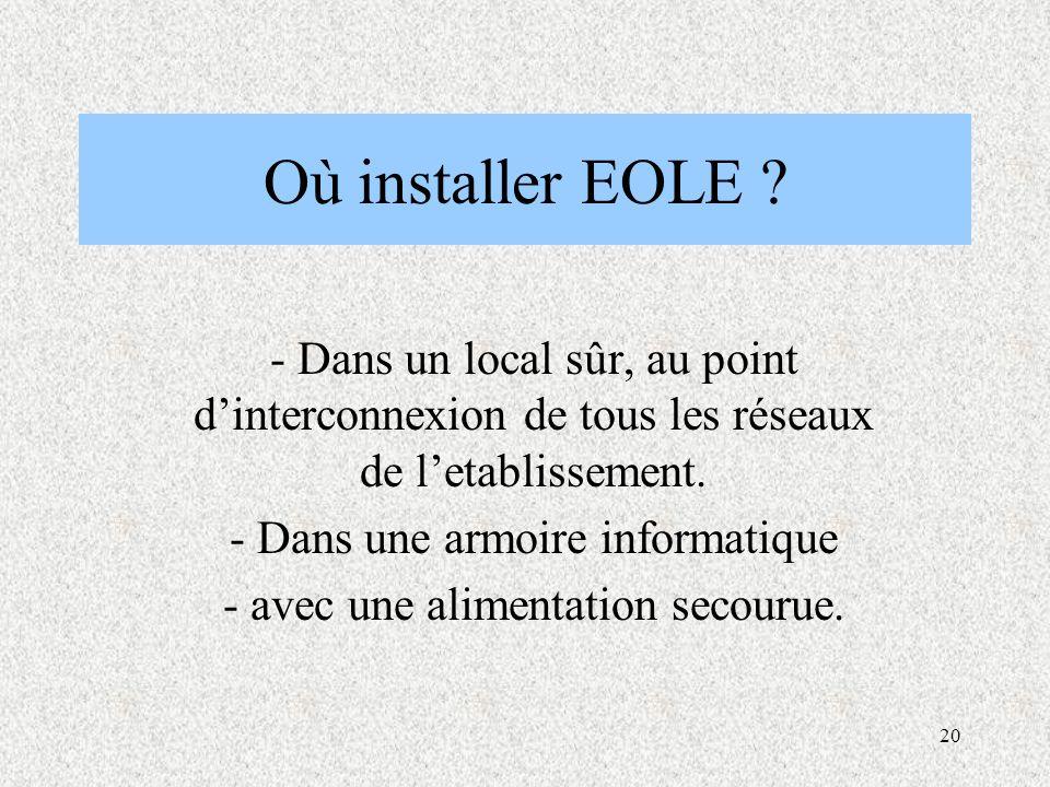 20 Où installer EOLE .