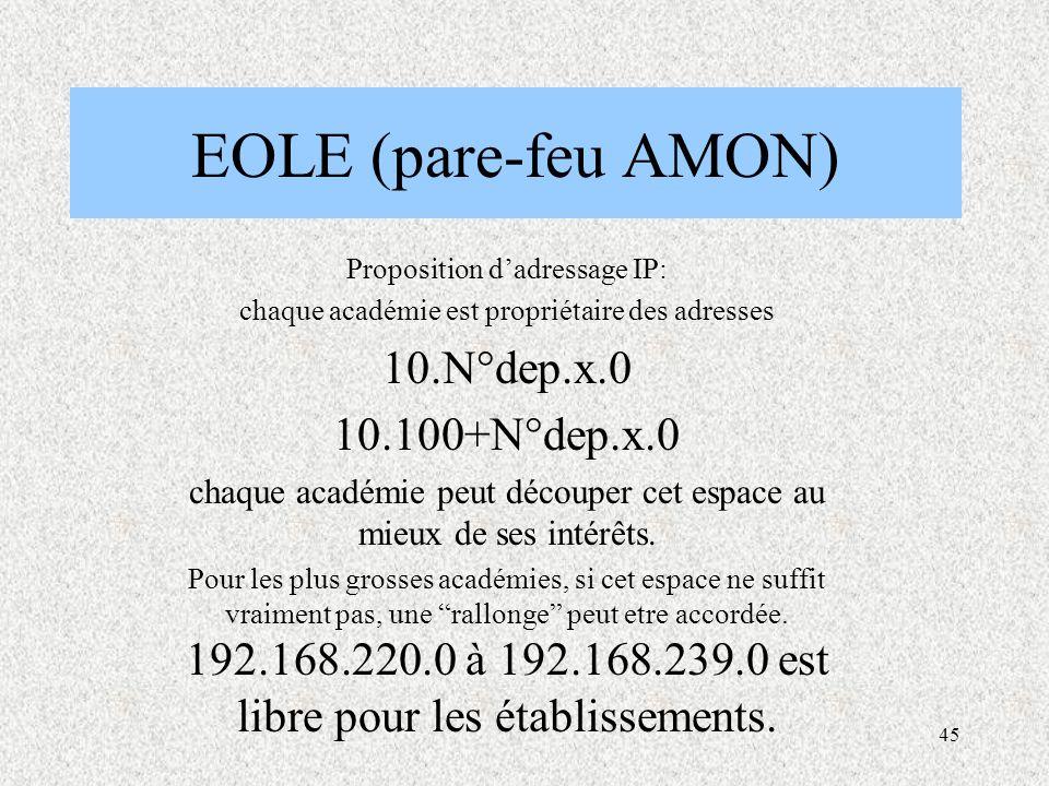 45 EOLE (pare-feu AMON) Proposition d'adressage IP: chaque académie est propriétaire des adresses 10.N°dep.x.0 10.100+N°dep.x.0 chaque académie peut découper cet espace au mieux de ses intérêts.