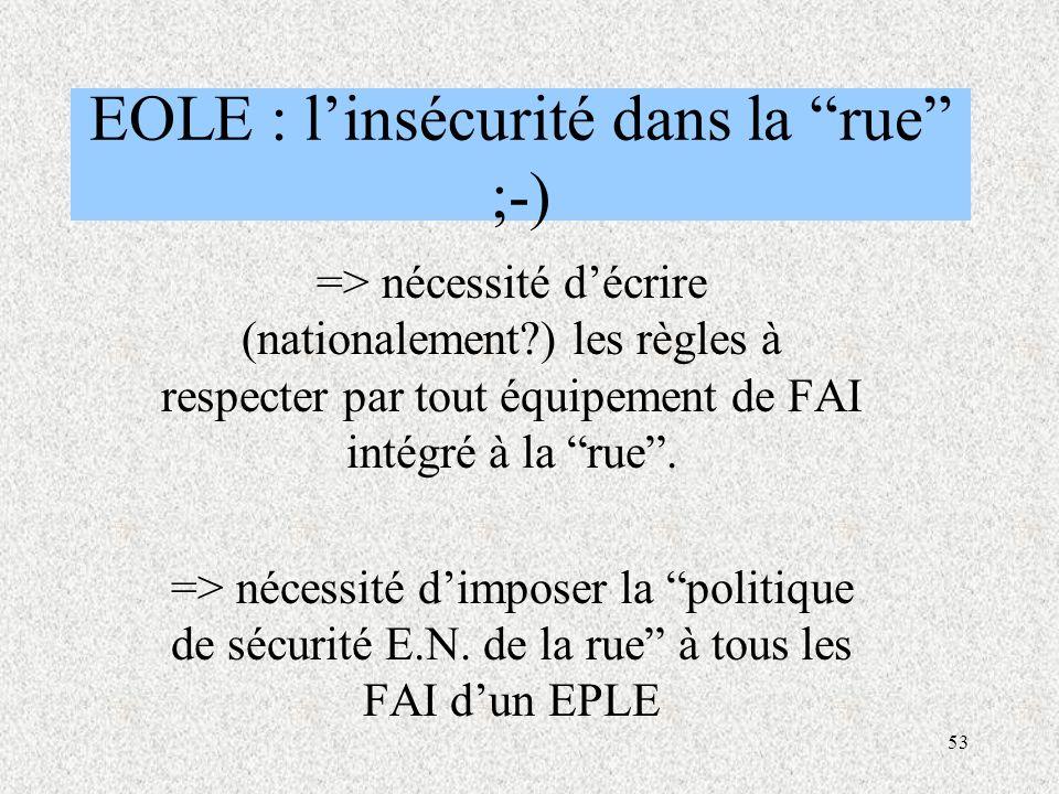 53 EOLE : l'insécurité dans la rue ;-) => nécessité d'écrire (nationalement?) les règles à respecter par tout équipement de FAI intégré à la rue .