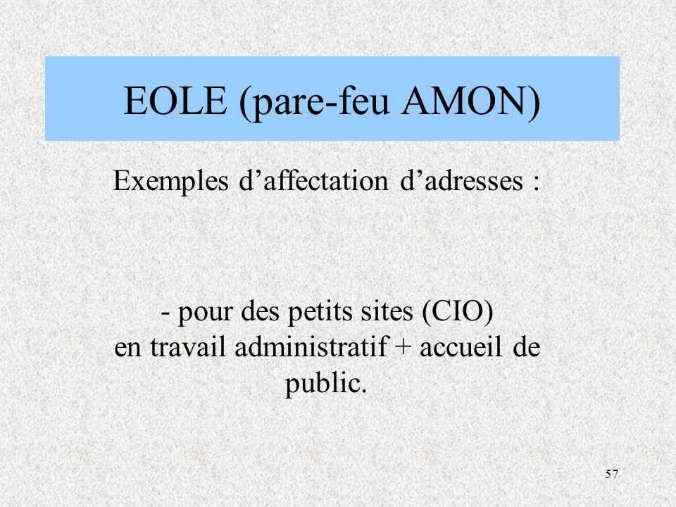 57 EOLE (pare-feu AMON) Exemples d'affectation d'adresses : - pour des petits sites (CIO) en travail administratif + accueil de public.