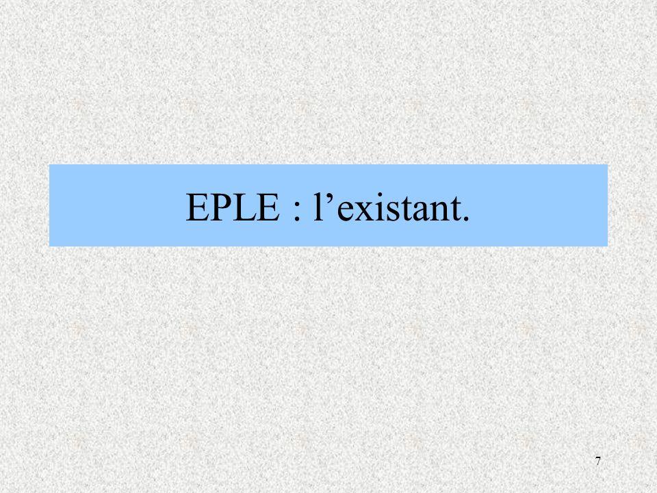 7 EPLE : l'existant.