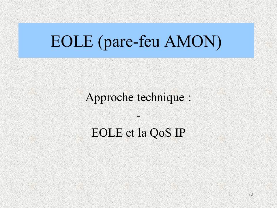 72 EOLE (pare-feu AMON) Approche technique : - EOLE et la QoS IP