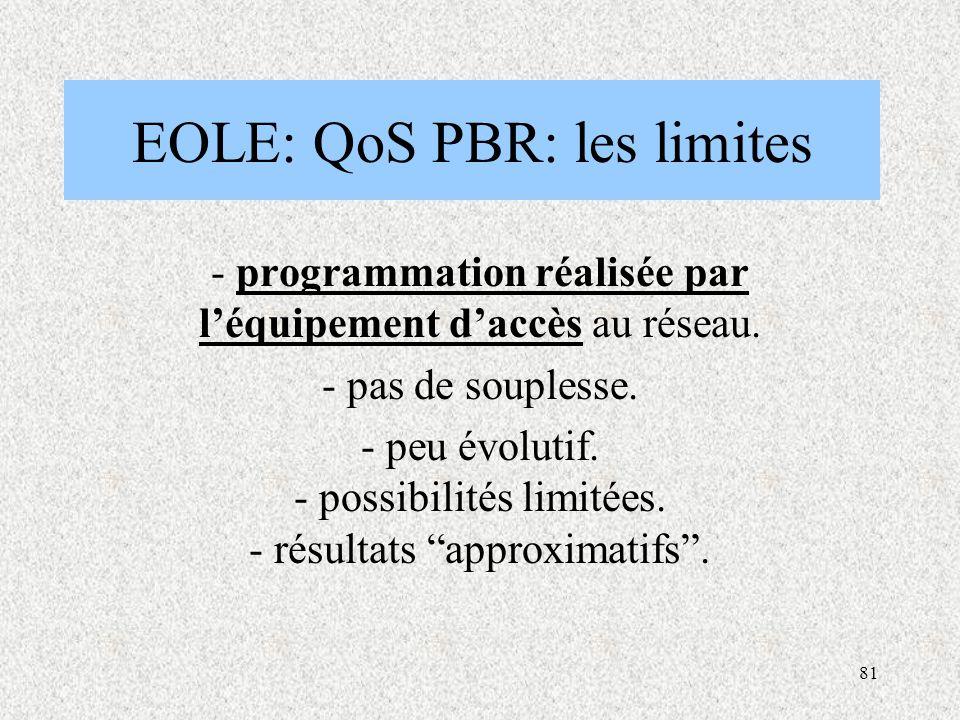 81 EOLE: QoS PBR: les limites - programmation réalisée par l'équipement d'accès au réseau.