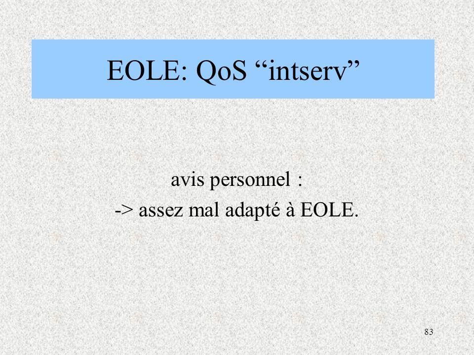 83 EOLE: QoS intserv avis personnel : -> assez mal adapté à EOLE.