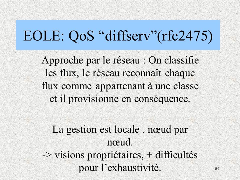 84 EOLE: QoS diffserv (rfc2475) Approche par le réseau : On classifie les flux, le réseau reconnaît chaque flux comme appartenant à une classe et il provisionne en conséquence.