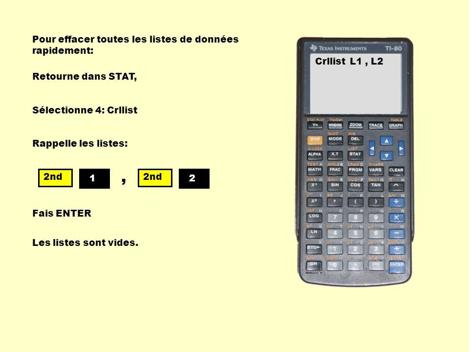 Pour effacer toutes les listes de données rapidement: Retourne dans STAT, EDIT CALC 1: Edit 2: SortA( 3: SortD( 4: Clrlist Sélectionne 4: Crllist Crll