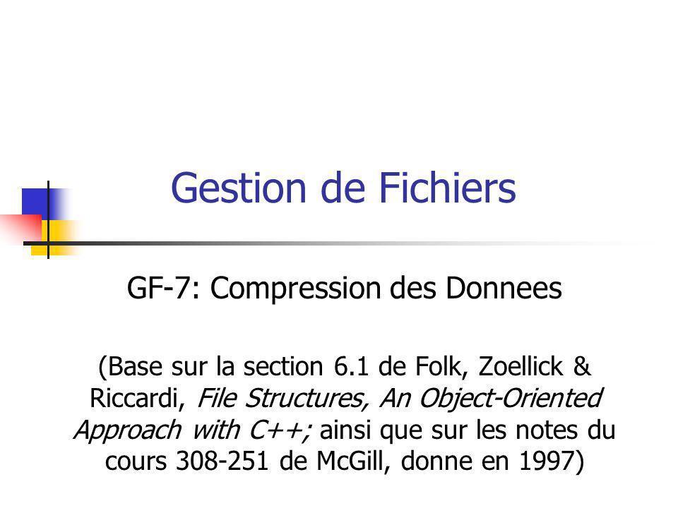Gestion de Fichiers GF-7: Compression des Donnees (Base sur la section 6.1 de Folk, Zoellick & Riccardi, File Structures, An Object-Oriented Approach