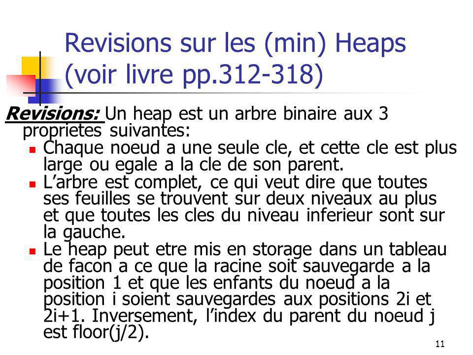 11 Revisions sur les (min) Heaps (voir livre pp.312-318) Revisions: Un heap est un arbre binaire aux 3 proprietes suivantes: Chaque noeud a une seule cle, et cette cle est plus large ou egale a la cle de son parent.