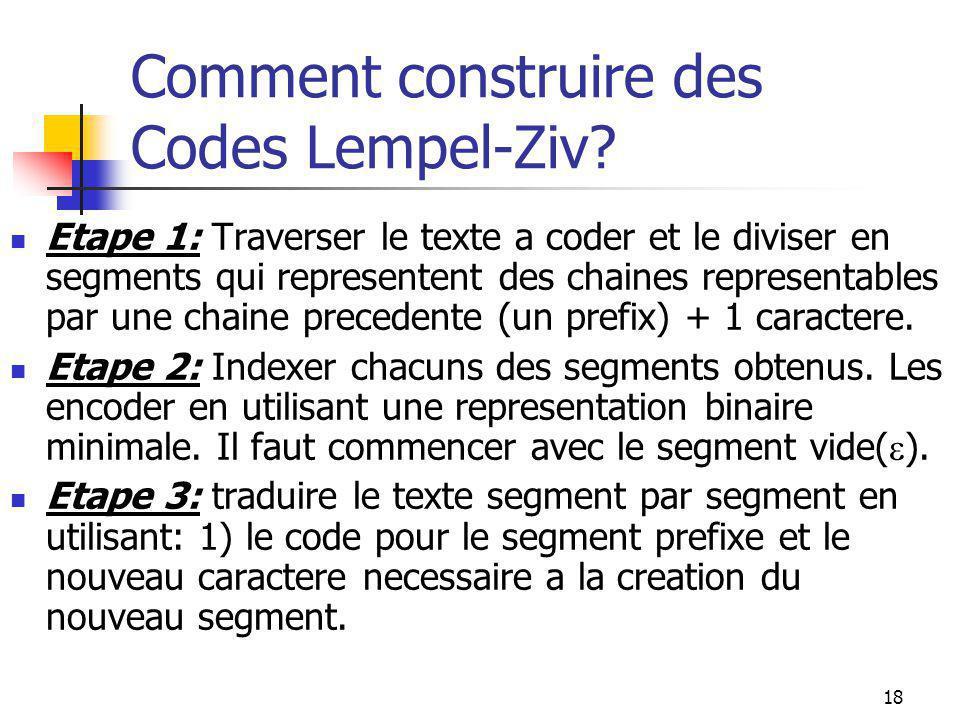 18 Comment construire des Codes Lempel-Ziv? Etape 1: Traverser le texte a coder et le diviser en segments qui representent des chaines representables