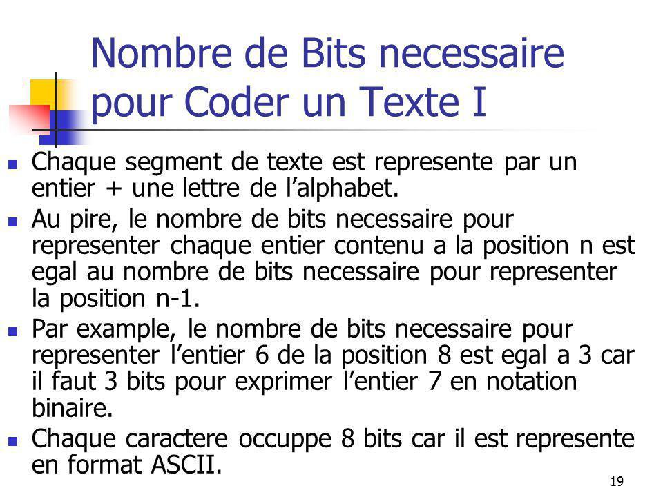 19 Nombre de Bits necessaire pour Coder un Texte I Chaque segment de texte est represente par un entier + une lettre de l'alphabet. Au pire, le nombre