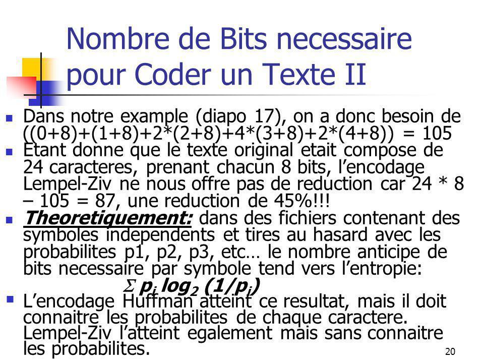 20 Nombre de Bits necessaire pour Coder un Texte II Dans notre example (diapo 17), on a donc besoin de ((0+8)+(1+8)+2*(2+8)+4*(3+8)+2*(4+8)) = 105 Etant donne que le texte original etait compose de 24 caracteres, prenant chacun 8 bits, l'encodage Lempel-Ziv ne nous offre pas de reduction car 24 * 8 – 105 = 87, une reduction de 45%!!.