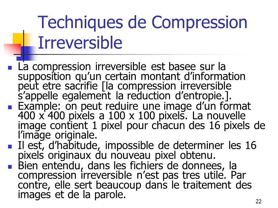 22 Techniques de Compression Irreversible La compression irreversible est basee sur la supposition qu'un certain montant d'information peut etre sacri