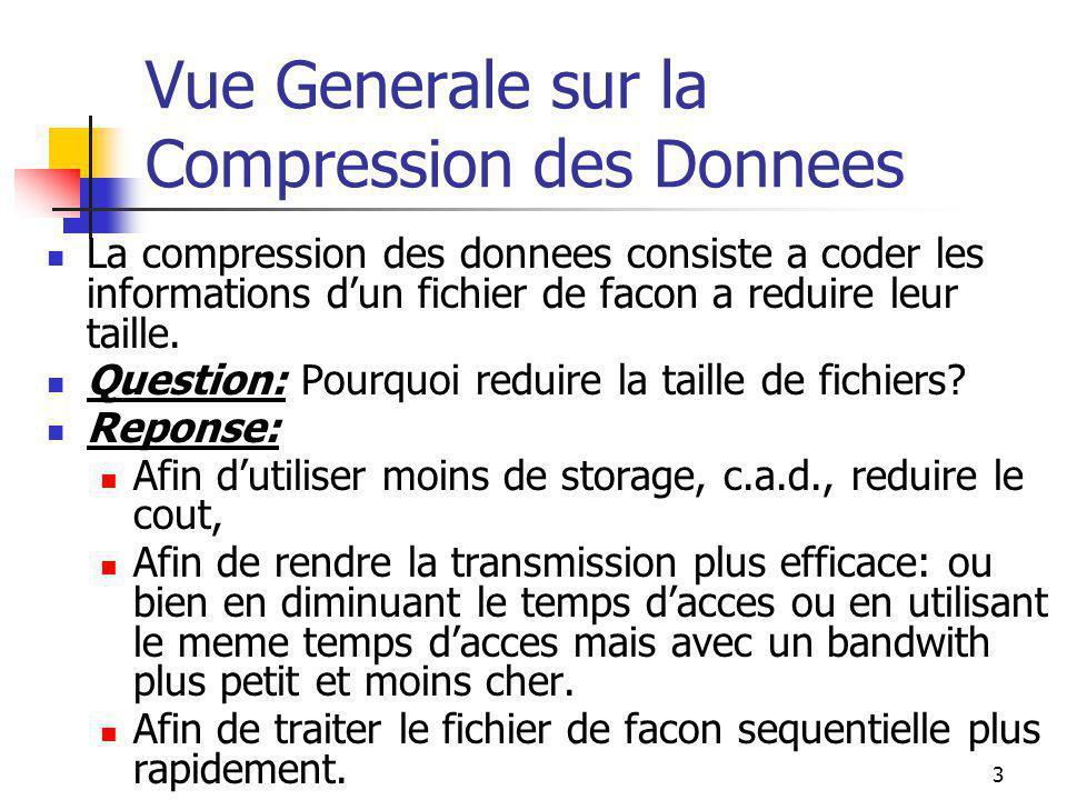 3 Vue Generale sur la Compression des Donnees La compression des donnees consiste a coder les informations d'un fichier de facon a reduire leur taille.