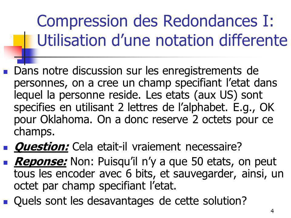 4 Compression des Redondances I: Utilisation d'une notation differente Dans notre discussion sur les enregistrements de personnes, on a cree un champ specifiant l'etat dans lequel la personne reside.