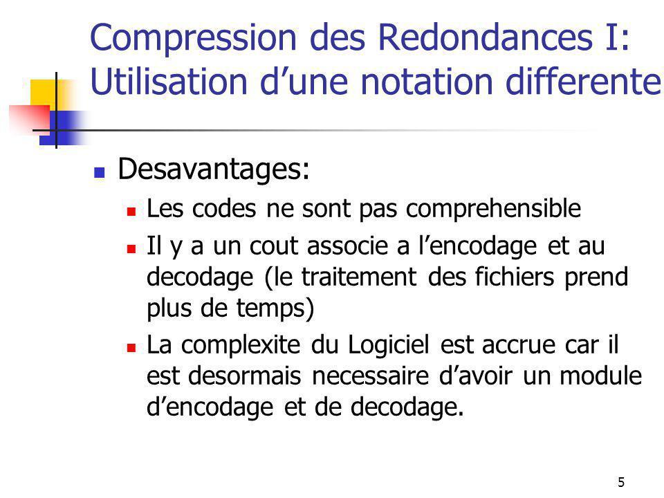 5 Compression des Redondances I: Utilisation d'une notation differente Desavantages: Les codes ne sont pas comprehensible Il y a un cout associe a l'encodage et au decodage (le traitement des fichiers prend plus de temps) La complexite du Logiciel est accrue car il est desormais necessaire d'avoir un module d'encodage et de decodage.