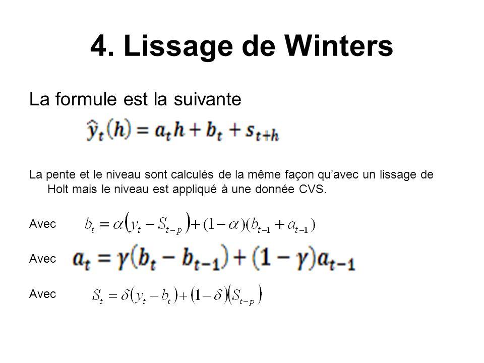 4. Lissage de Winters La formule est la suivante La pente et le niveau sont calculés de la même façon qu'avec un lissage de Holt mais le niveau est ap
