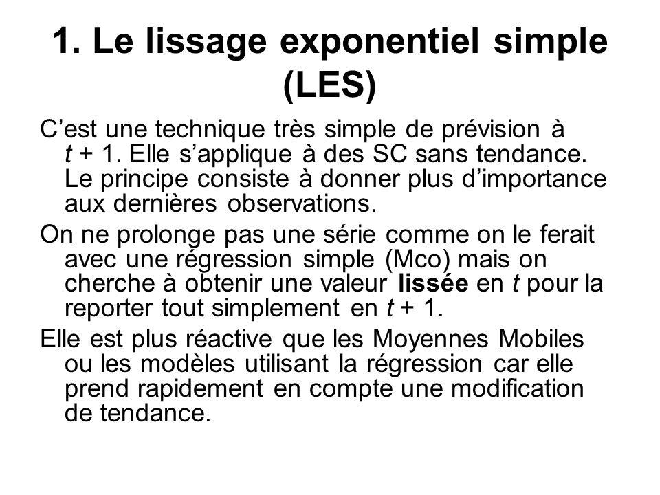 1. Le lissage exponentiel simple (LES) C'est une technique très simple de prévision à t + 1. Elle s'applique à des SC sans tendance. Le principe consi