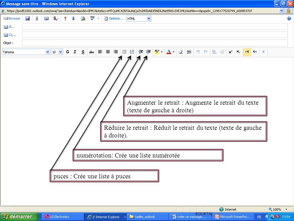 puces : Crée une liste à puces numérotation: Crée une liste numérotée Réduire le retrait : Réduit le retrait du texte (texte de gauche à droite). Augm
