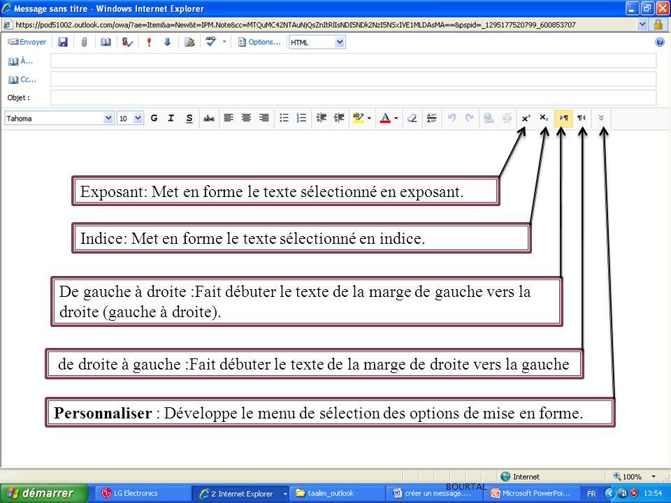 Personnaliser : Développe le menu de sélection des options de mise en forme. de droite à gauche :Fait débuter le texte de la marge de droite vers la g